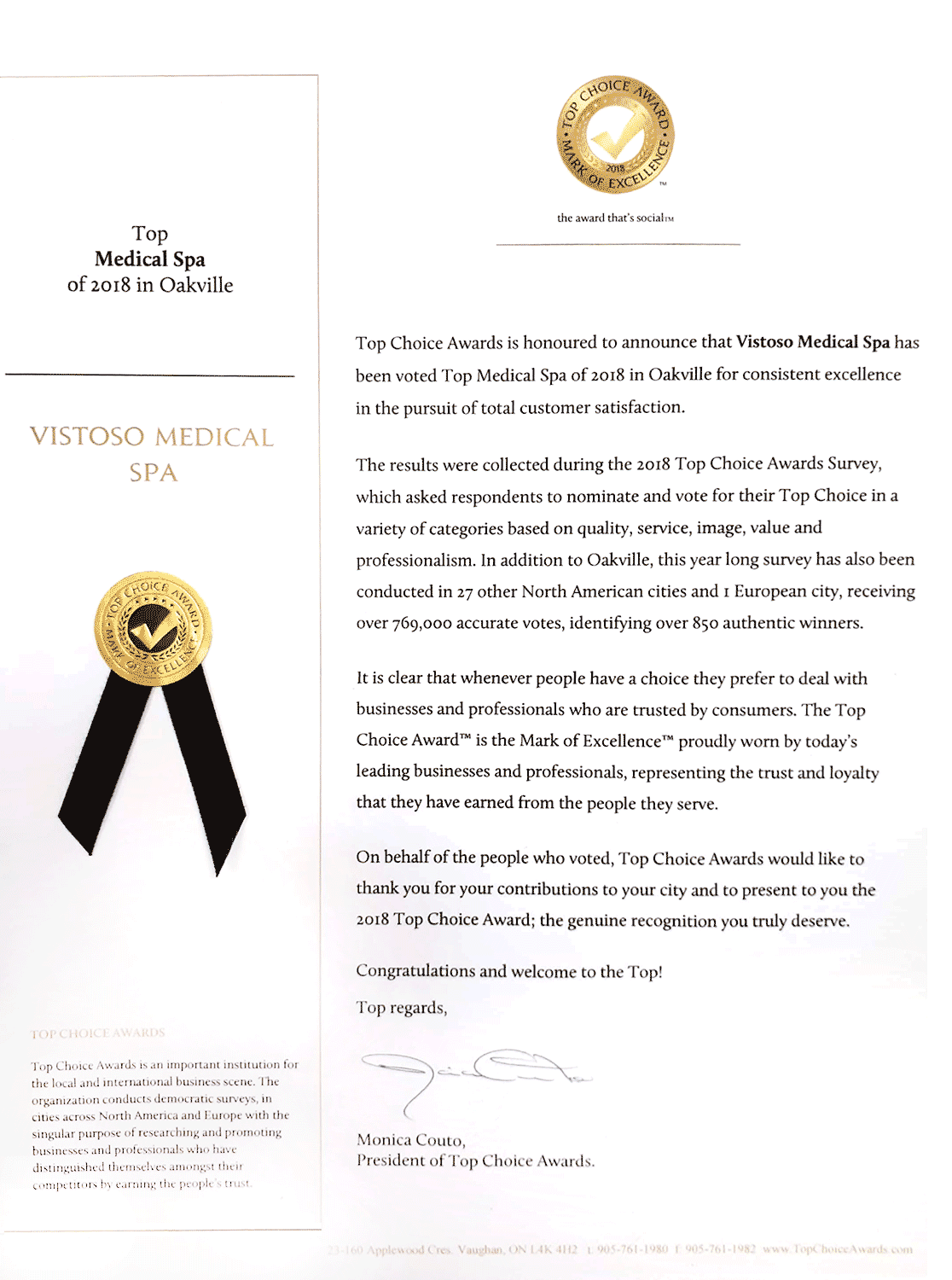 Vistoso med spa Top Choice Award